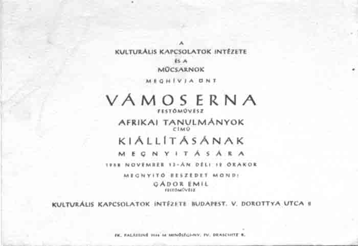 Announcement of the Budapest exhibition 1958